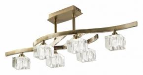 Потолочная люстра Mantra Cuadrax Antique Brass Optical Glass 1100
