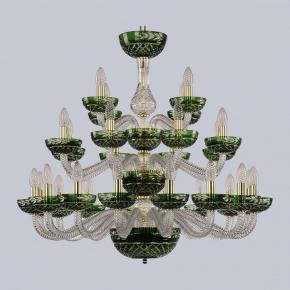 Подвесная люстра 1309 1309/16+8+4/300/3d G Cl/Clear-Green/H-1J